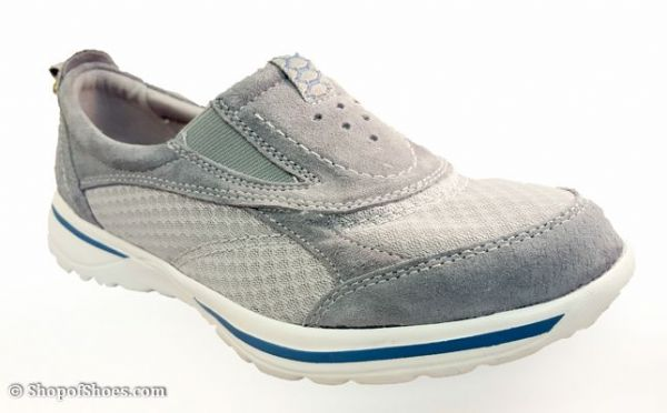 Ultra lightweight neutral grey suede leather casual leisure shoe.